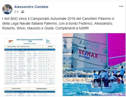 I AM A BAD di Alessandro Candela (CVS) vincitore del Campionato Invernale del Sabato 2018, ma non solo, perché il CVS  ….