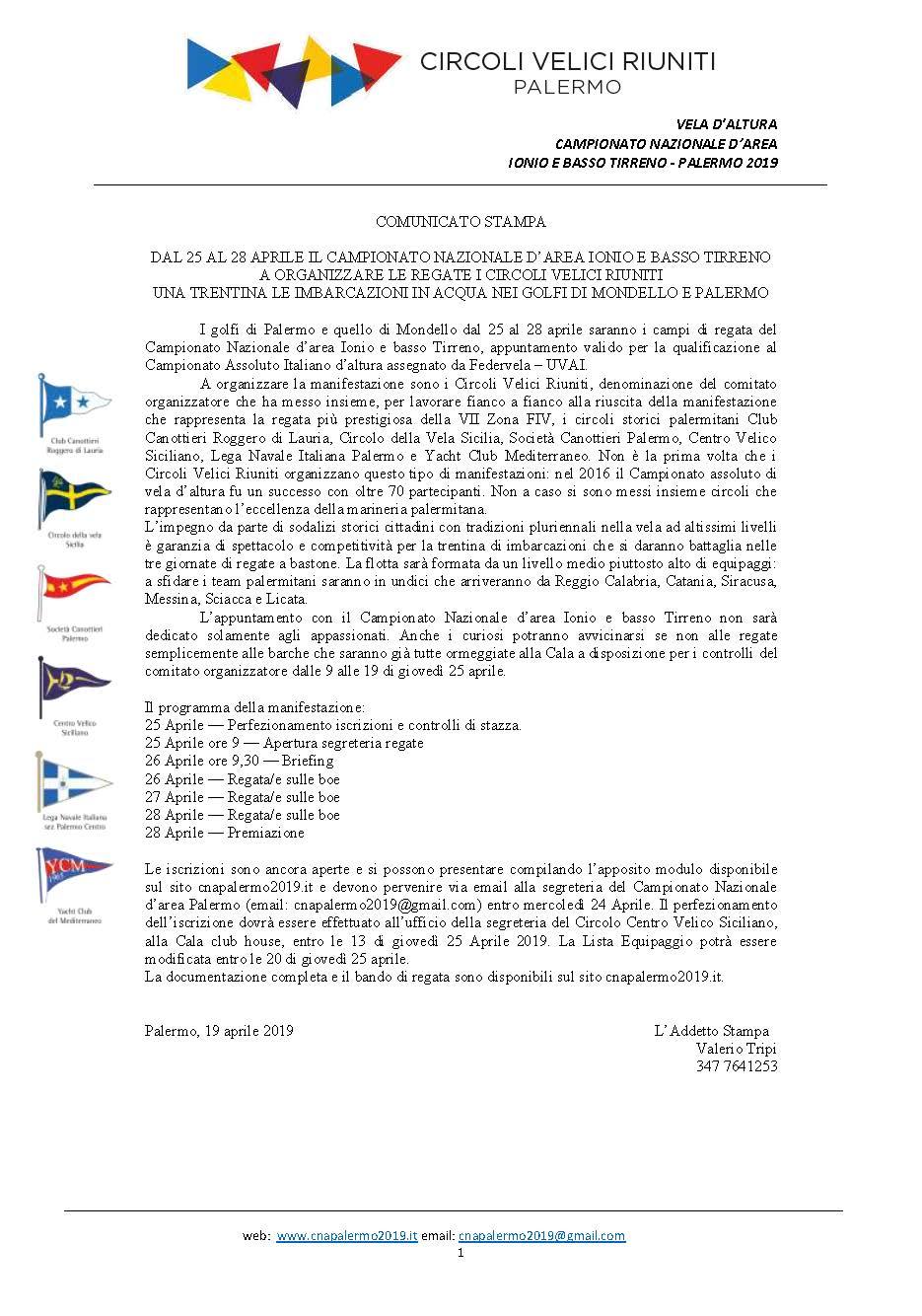Campionato Nazionale d'Area Ionio e Basso Tirreno, Palermo 2019 – Rassegna stampa