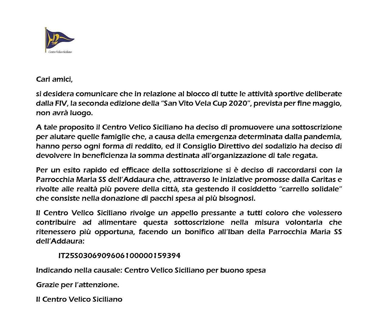 Annullamento San Vito Vela Cup 2020 e iniziativa di solidarietà